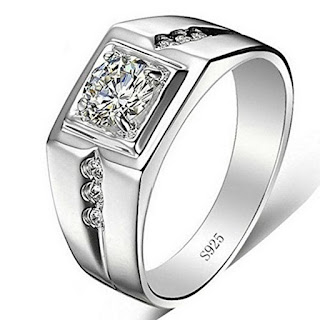 Silver Swarovski Solitaire Adjustable Rings for Men