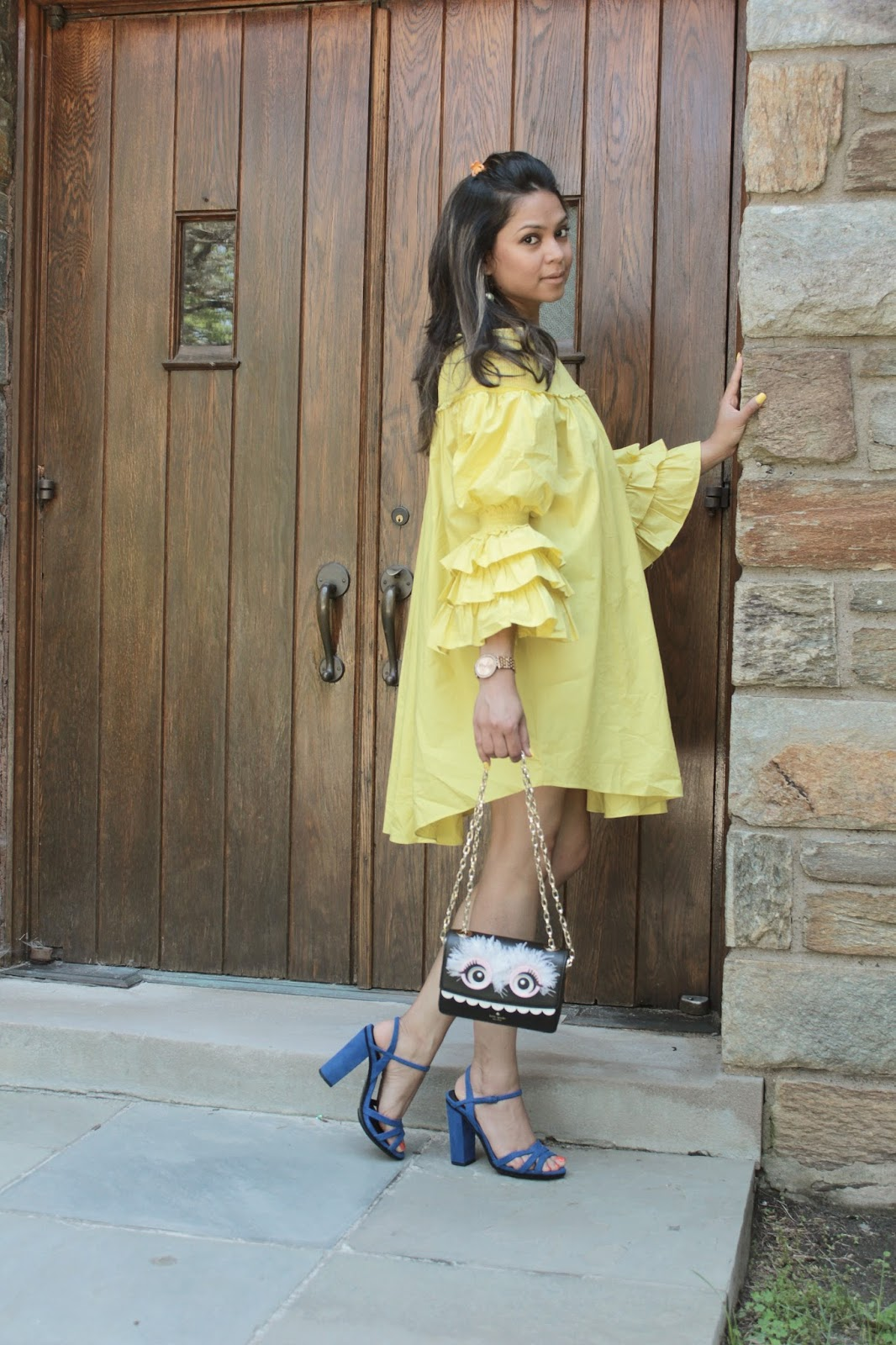 forever 21 yellow ruffle sleeve dress, street style, blue sandals, summer dress, yellow dress, ruffle sleeve, sunshine, half up hairdo, monster bag , myriad musings, saumya shiohare