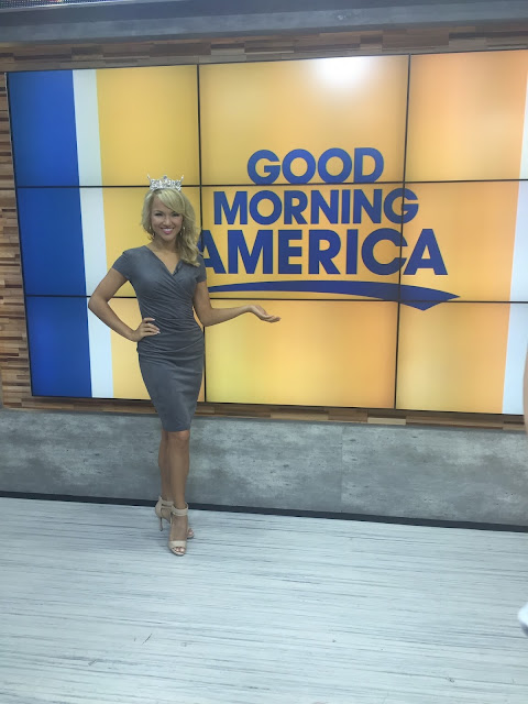 Savvy Shields wears a fitted Joseph Ribkoff dress on Good Morning America