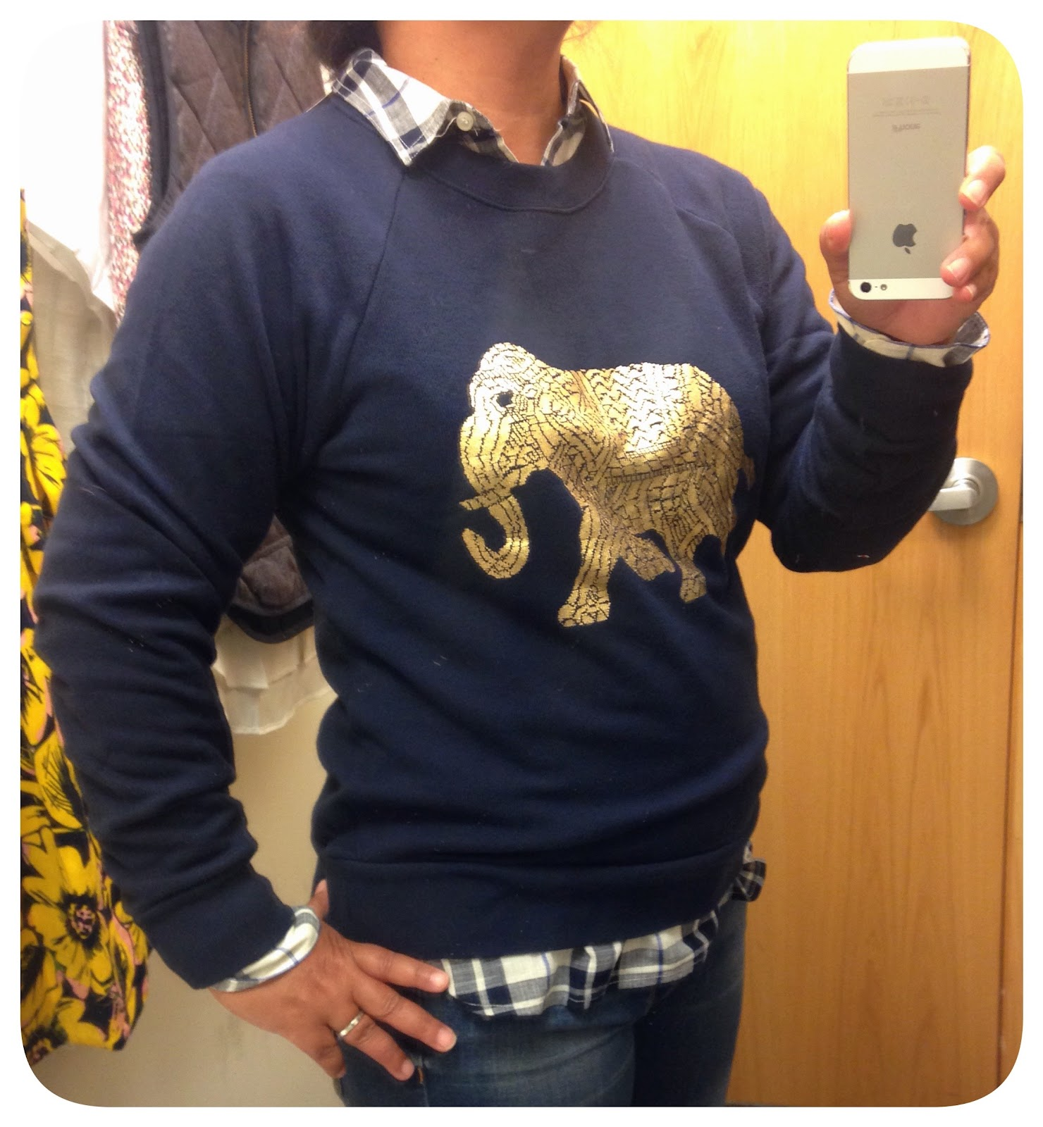 309cb08ded308c The metallic elephant seems about the same on both the tee and sweatshirt.  The fit is true-to-size