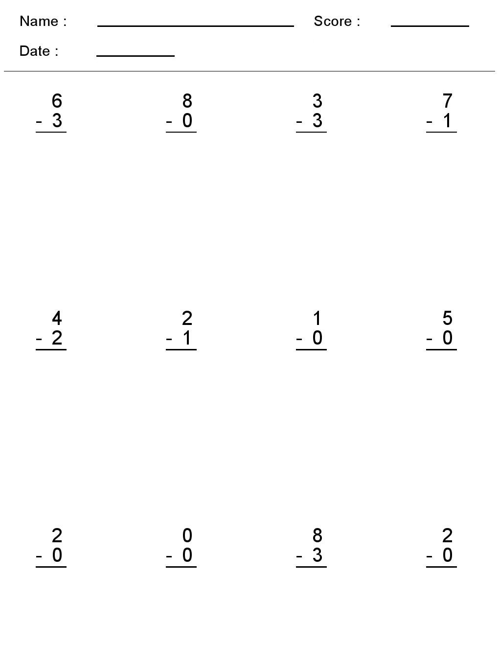 - Kindergarten Worksheets: Maths Worksheets - Subtraction Worksheets