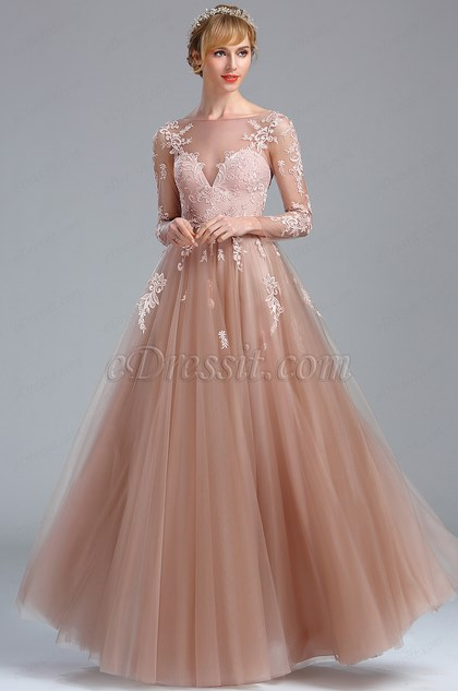 Elegant Blush Lace Appliques Princess Evening Dress