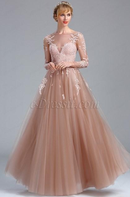 Elegant Blush Lace Appliques Princess Evening Dress