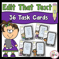 Edit That Text has 36 task cards to practice editing and complete sentences