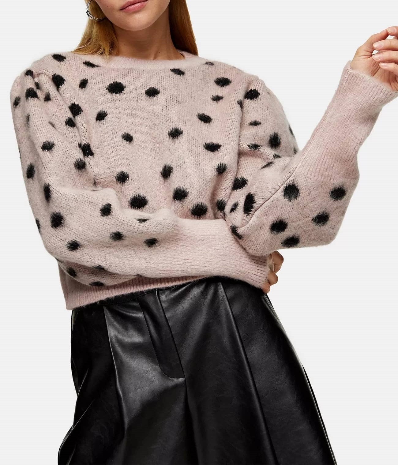 pink and black spot knitted sweater
