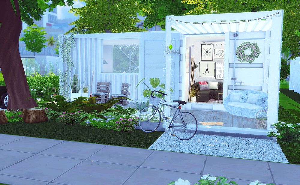 Minimalist container house sims 4 houses for Small minimalist house
