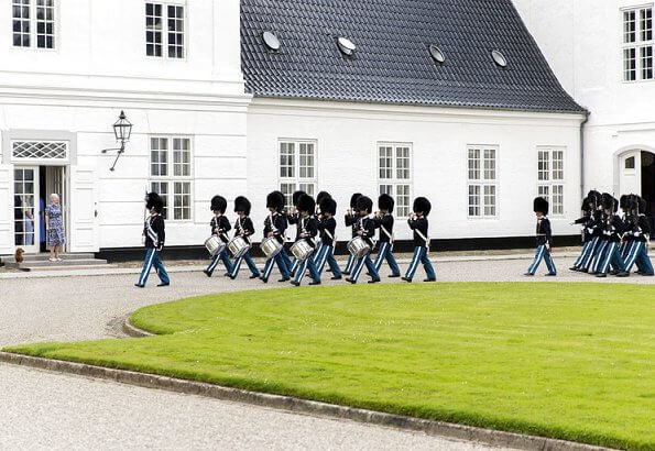 Queen Margrethe II attended ceremony of guards changing held at Grasten Palace. Crown Princess Mary