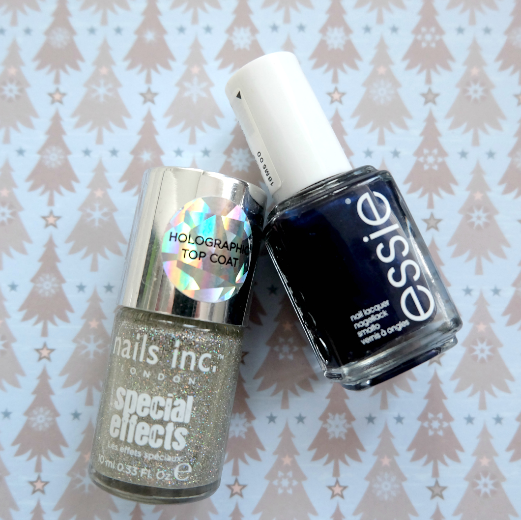 nails inc holographic top coat, essie midnight cami