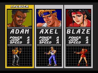 Captura de pantalla del Streets of Rage en la que podremos seleccionar a uno de los tres ex-policías: Adam, Axel y Blaze