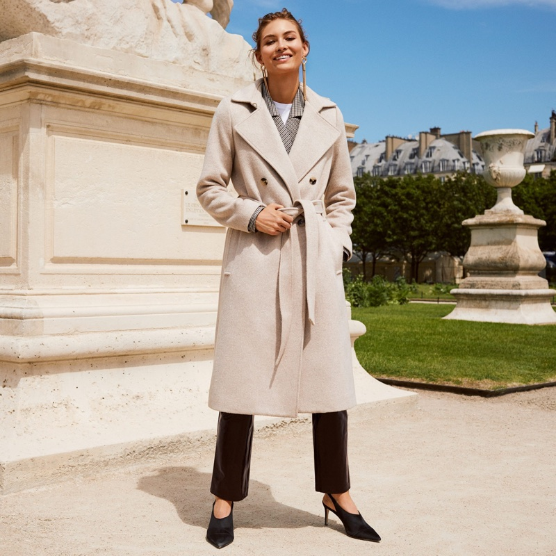 H&M Double-Breasted Coat, Wool-Blend Coat, Cotton T-Shirt, Coated Leather Pants, Slingbacks and Long Earrings