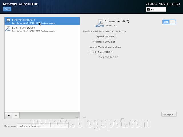 CentOS Installation Network & Hostname