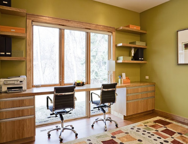 best custom home office desk in front of window for two design ideas