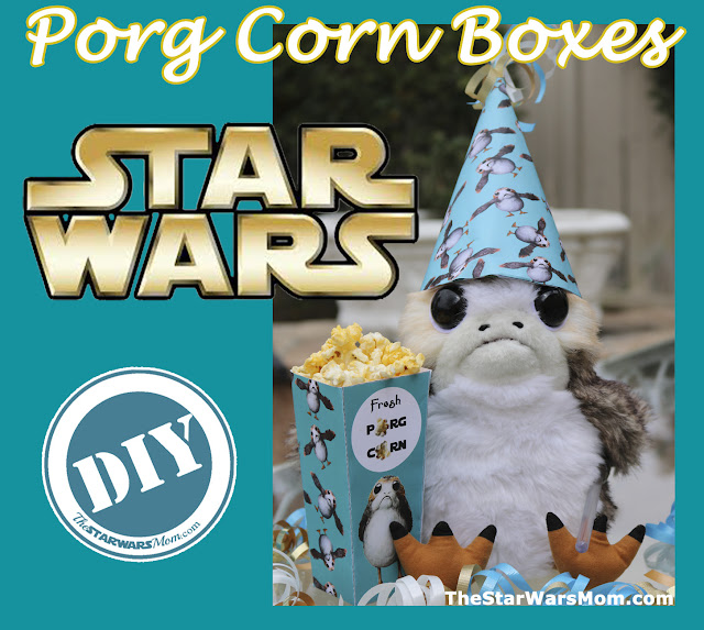 Porg Party DIY PopCorn Boxes by The Star Wars Mom