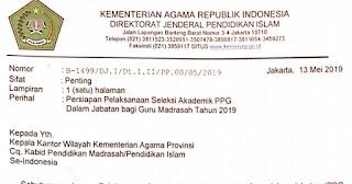 Surat Edaran Persiapan Pelaksanaan Seleksi Akademik PPG Dalam Jabatan Bagi Guru Madrasah Tahun 2019