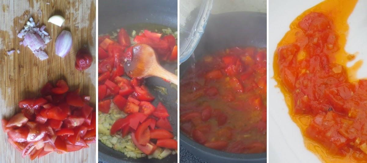 Zubereitung geschmolzenen Tomaten