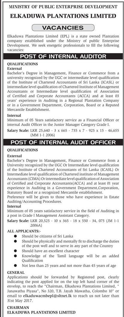 Internal Auditor / Internal Audit Officer