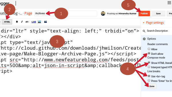 paste code in html area box and publish