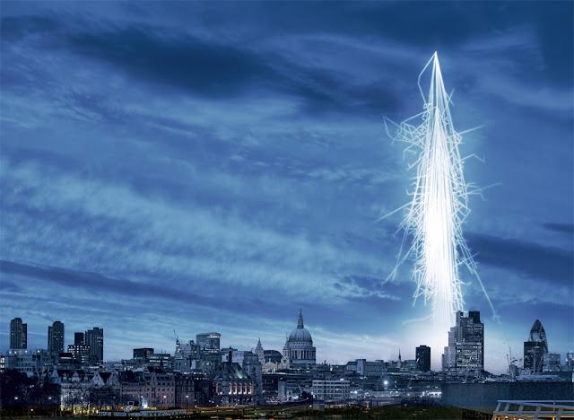 radiação cósmica sobre Londres- ilustração