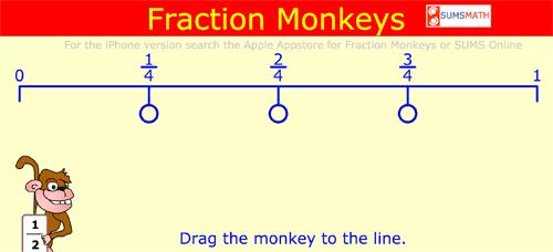 Arrastra al mono hasta la fracción equivalente