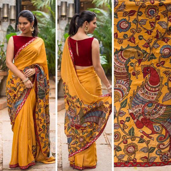 Kalamkari Saree: Type of hand-painted or block-printed in
