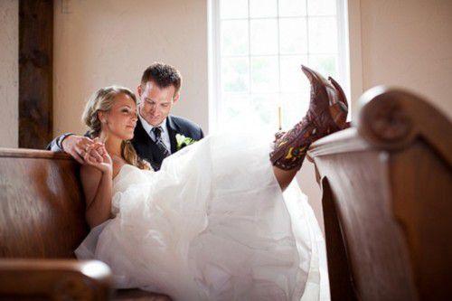 ideias de noiva usando botas