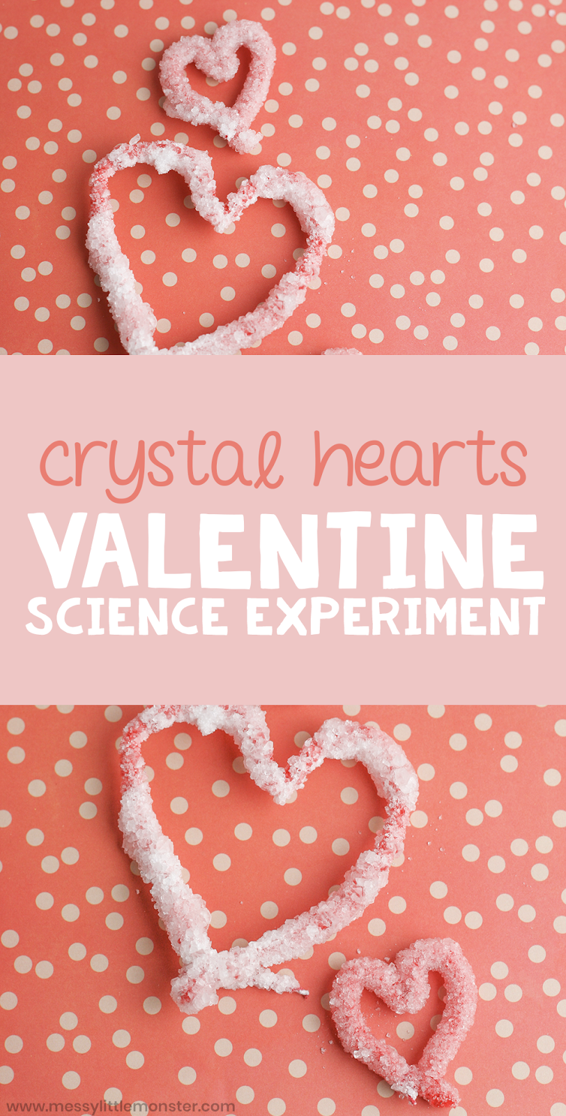 Valentines science experiment for kids. Find our how do crystals grow and make your own crystal hearts.