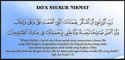 Doa Untuk Mensyukuri Nikmat
