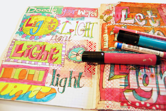 art journal ideas | art journal techniques | art journal pages | get inspiration http://schulmanart.blogspot.com/2016/03/word-doodles.html
