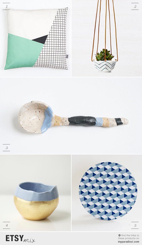 Handmade homeware items in cool shades via #etsy. Find the links to these products on myparadissi.com