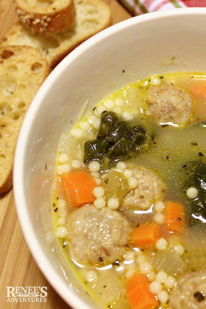 Easy Italian Wedding Soup by Renee's Kitchen Adventures close up overhead view