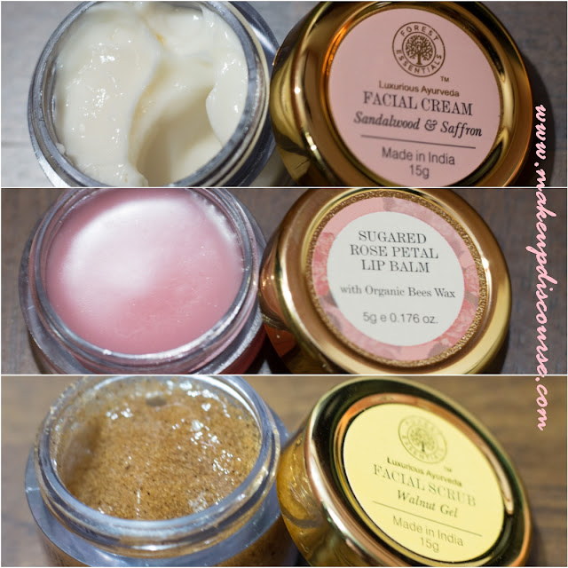 Forest Essentials Saffron & Sandalwood cream, Sugared Rose Petal Lip Balm, Forest Essentials Walnut Scrub Gel, Forest Essentials Haul