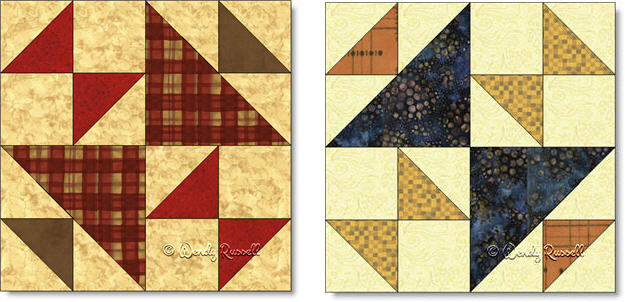 FOX AND GEESE and OLD MAID'S PUZZLE quilt block images © Wendy Russell