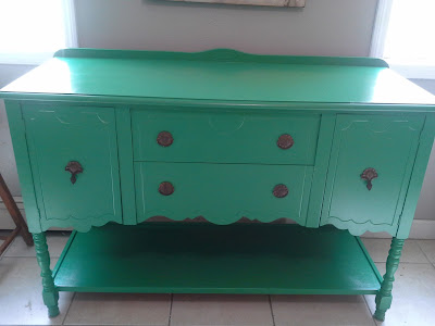 kelly green buffet sideboard console gloss vintage