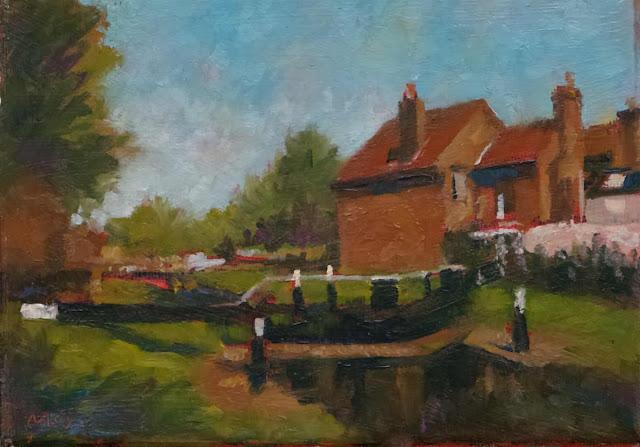 """Dublin Grand Canal Scene. Oils on canvas 5"""" x 7"""""""