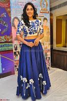Regina Casandra in Stunning White Embroidery Crop Top Choli and Blue Ghagra at Santosham awards 2017 curtain raiser press meet 02.08.2017 047.JPG