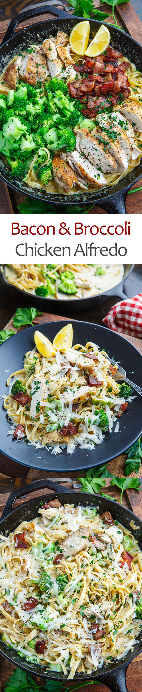 Broccoli and Bacon Chicken Alfredo Linguine