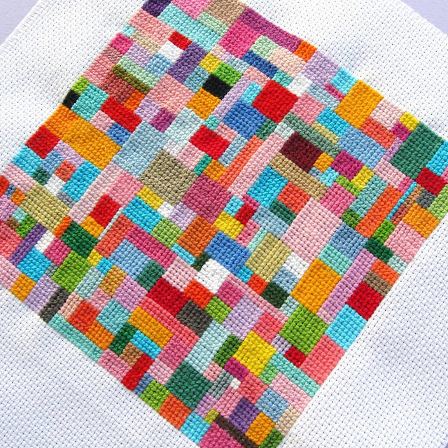 Scrappy Patchwork Cross Stitch Textile Art