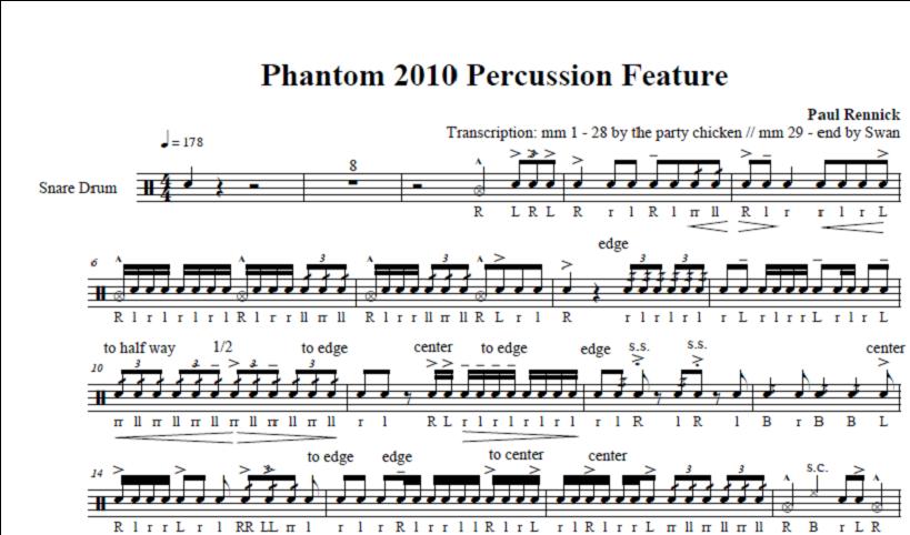 Percussion And Drum Stuff: Snare Drum Sheet Music: Phantom ...
