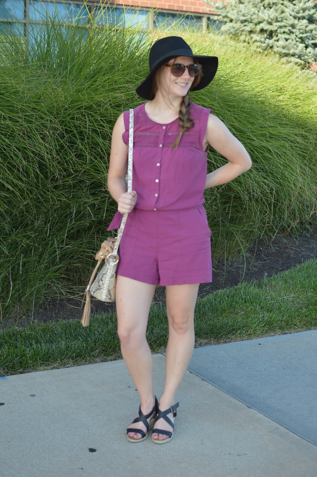 burgundy lace romper | romper with a floppy hat | how to wear a floppy hat during the summer | summer outfit ideas | snakeskin bucket bag | your life styled |