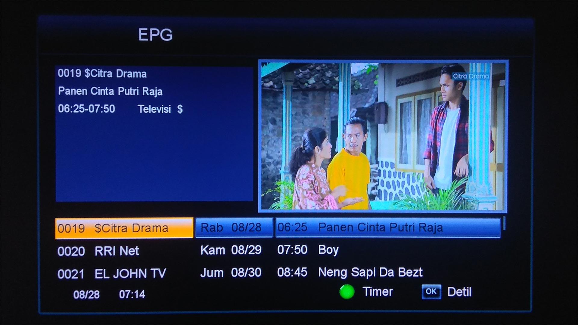 Cara Memunculkan Jadwal Acara TV Ninmedia di Goldsat Revo HD