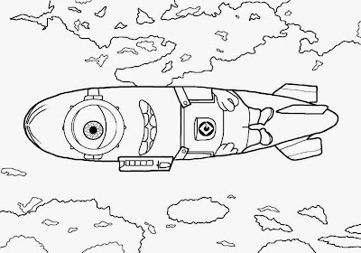 Kids free art graphics summer cloudy sky airship minion cartoon minions coloring book pages to print