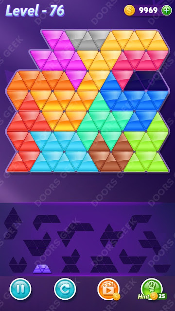 Block! Triangle Puzzle Champion Level 76 Solution, Cheats, Walkthrough for Android, iPhone, iPad and iPod