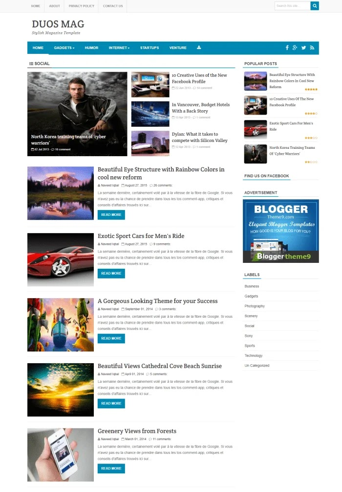 DUOS MAG Best Free Responsive Blogger Templates