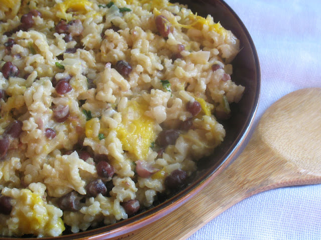 coconut rice with adzuki beans and mango