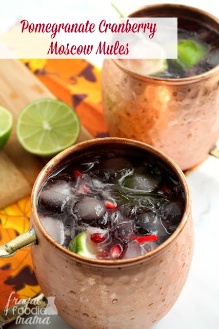 The classic Moscow Mule gets a perfect for fall flavor update with these Pomegranate Cranberry Moscow Mules. #RHFood