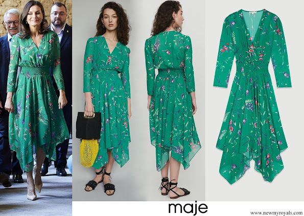 Queen Letizia wore Maje Floral print dress