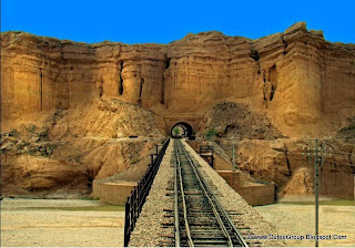"This is an amazing view of a tunnel and bridge over a river on the railway track from ""Rohri to Quetta""."