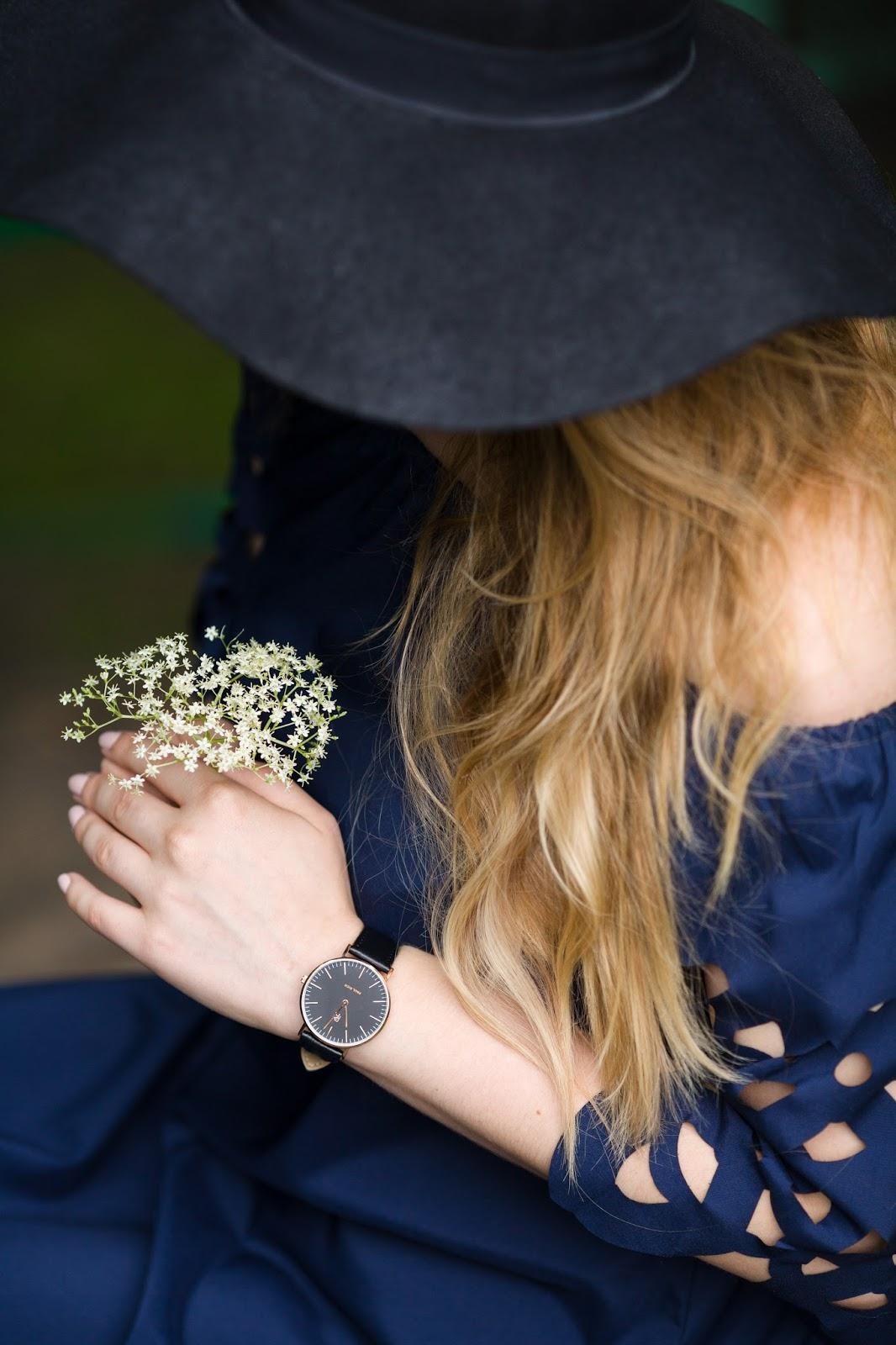 14 Off The Shoulder Flared Dress zaful paul rich watch hat sukienka zaful opinie recenzja buty łuków ażurowa hiszpanka granatowa baletki zegarek ootd lookbook fashionblogger blog modowy lifestyle