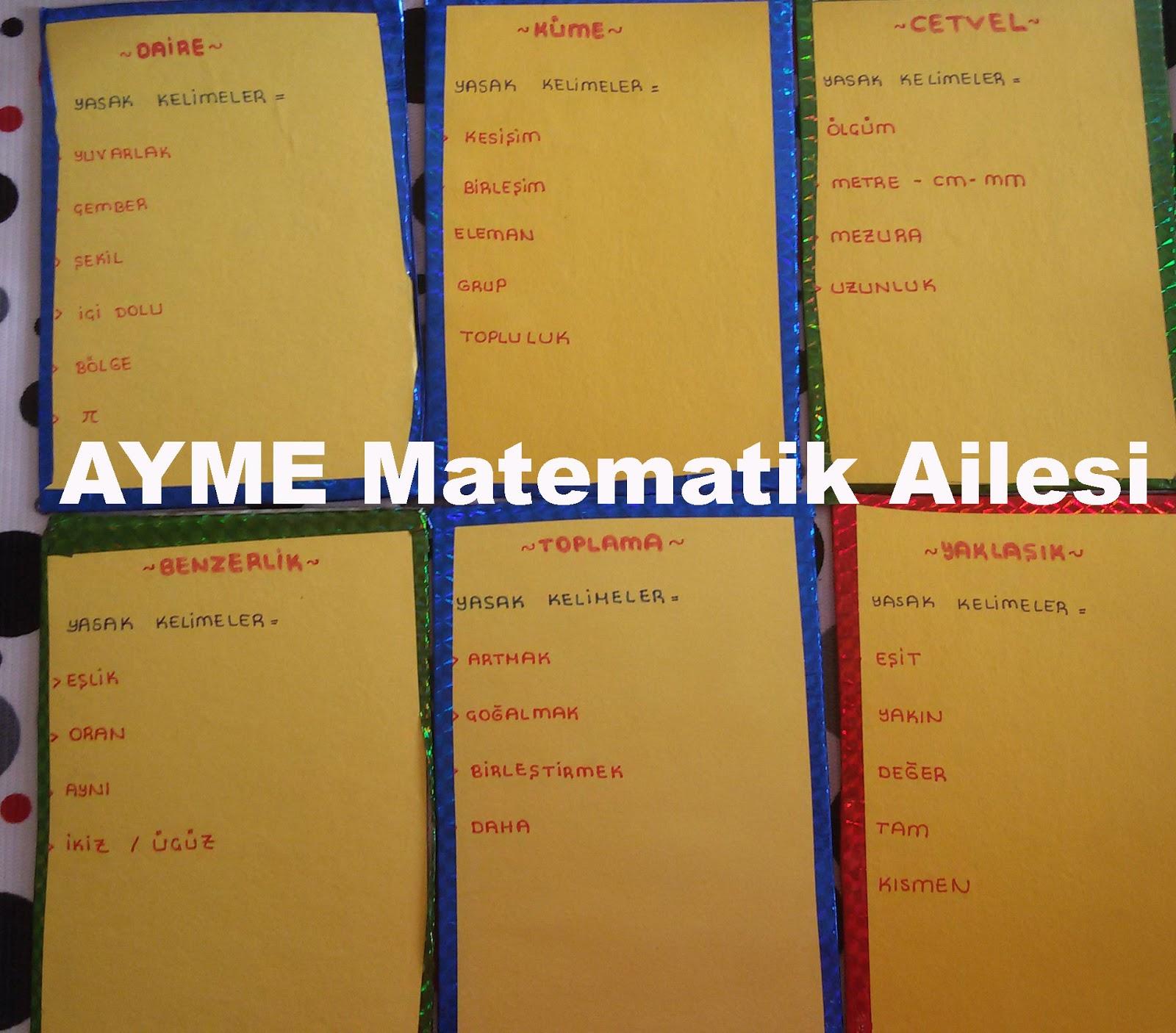 Matematik Tabu Kelimeleri Mattabu Kelimeleri Ayme Matematik Ailesi
