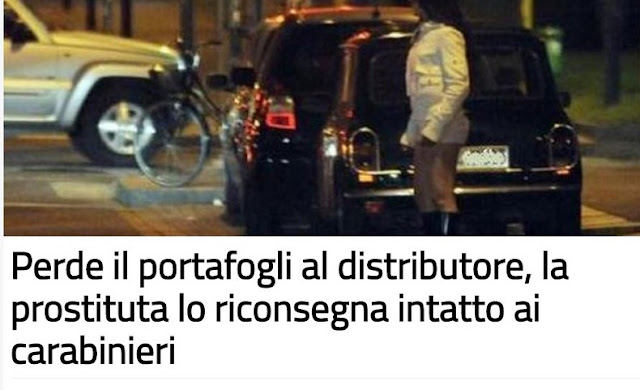 22-year old Albanian prostitute find wallet with money and hands it over to Italian police
